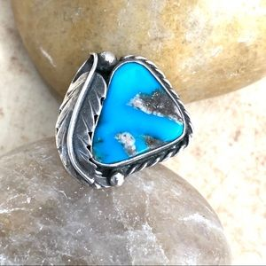 Vintage Old Pawn Turquoise and Sterling Leaf Ring